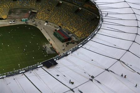 Aerial view shows final touches of the roof installation at the Maracana Stadium in Rio de Janeiro