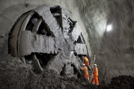 Tunnelling machine ?Elizabeth? breaks into the specially built chamber at Stepney Green earlier this