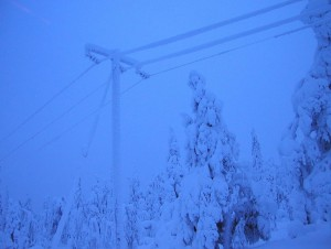 power lines snow