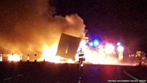 lorry fire M6